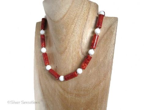 Red Tube Beads & Snow White Agate Sterling Silver Chunky Necklace